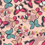 Feminine Schmetterlinge Nahtloses Vektormuster