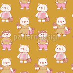 Happy Teddies Vector Pattern