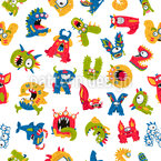 Monster Alphabet Repeating Pattern