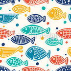 Flat Lay Fishes Vector Ornament