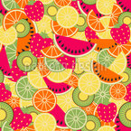 Tasty Summer Fruits Seamless Vector Pattern Design