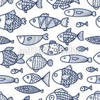 Outlined Fishes Vector Pattern