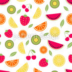 Fresh Summer Fruits Seamless Vector Pattern Design