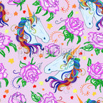 Unicorn And Roses Seamless Vector Pattern Design