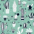 Kaktus Im Blumentopf Nahtloses Vektormuster