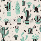 Cactus-Flower Repeating Pattern