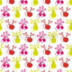 Summer Garden Fruits Seamless Vector Pattern Design