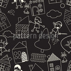 Happy Playing With Friends Seamless Vector Pattern