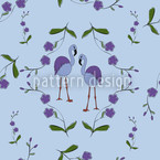 Flamingos Under Blossoms Seamless Vector Pattern Design