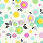 Dot-Flowers Seamless Vector Pattern