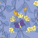 Butterfly House Blue Seamless Pattern