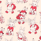 Cute Bunnys  Vector Pattern