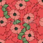 Red flowers with leaves Seamless Vector Pattern Design