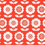 Sixties Potted Flower Seamless Vector Pattern Design