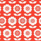 六十年代鉢植えの花 シームレスなベクトルパターン設計
