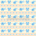 Blue Elephants Seamless Vector Pattern Design