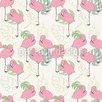 Flamingos und tropische Blätter Rapportmuster