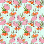 Flamingos And Tropical Plants Seamless Vector Pattern Design