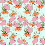 Flamingos und tropische Pflanzen Nahtloses Vektormuster