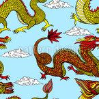Asiatische Drachen Nahtloses Vektormuster