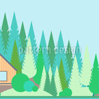 Landscape Bordure in Flat-Design Pattern Design