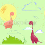Liebliche Dinosaurier Nahtloses Vektormuster