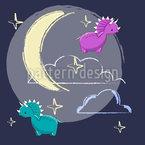 Dinosaurier im Nachthimmel Nahtloses Vektormuster