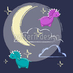 Dinosaurs In The Night Sky  Seamless Vector Pattern Design