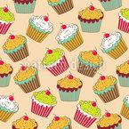 Leckere Cupcakes Nahtloses Vektor Muster