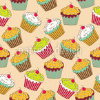 Tasty Cupcakes  Seamless Vector Pattern Design