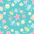 Shells Mosaic Seamless Vector Pattern Design