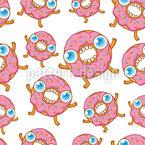 Hungrige Karikatur Donuts Designmuster