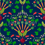 Vegetable Mosaic Seamless Vector Pattern Design
