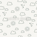Outlined Sun And Rain Pattern Design