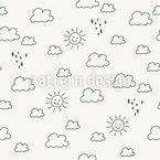 Skizzierte Sonne und Regen Musterdesign