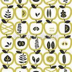 Äpfel und Blätter Nahtloses Vektormuster