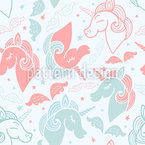 Dreamy Unicorns Seamless Vector Pattern Design