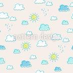 Sonne Und Wolken Nahtloses Vektormuster