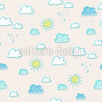 Sun And Clouds Seamless Vector Pattern Design