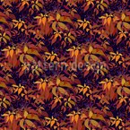 Autumn Grape Vine Seamless Vector Pattern Design