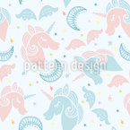 Sleeping Unicorns Seamless Vector Pattern