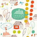 Mein Kleines Haus Nahtloses Vektormuster