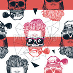 Cool Looking Skull Seamless Vector Pattern Design