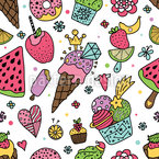 Summer Ice Cream And Sweets Seamless Vector Pattern Design