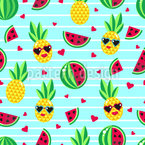 Love story of two pineapples Seamless Vector Pattern Design