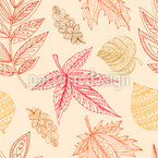 Decorative Autumn Leaves Seamless Vector Pattern Design