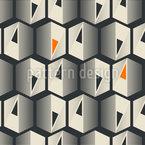 Hexagões ornamentados Design de padrão vetorial sem costura