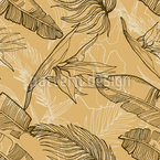 Tropical Outlined Scene Seamless Vector Pattern Design