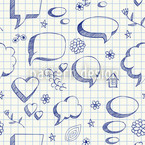 Speach bubble Doodles Seamless Vector Pattern Design