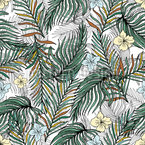 Tropically Palm Leaves and Flowers Seamless Vector Pattern Design